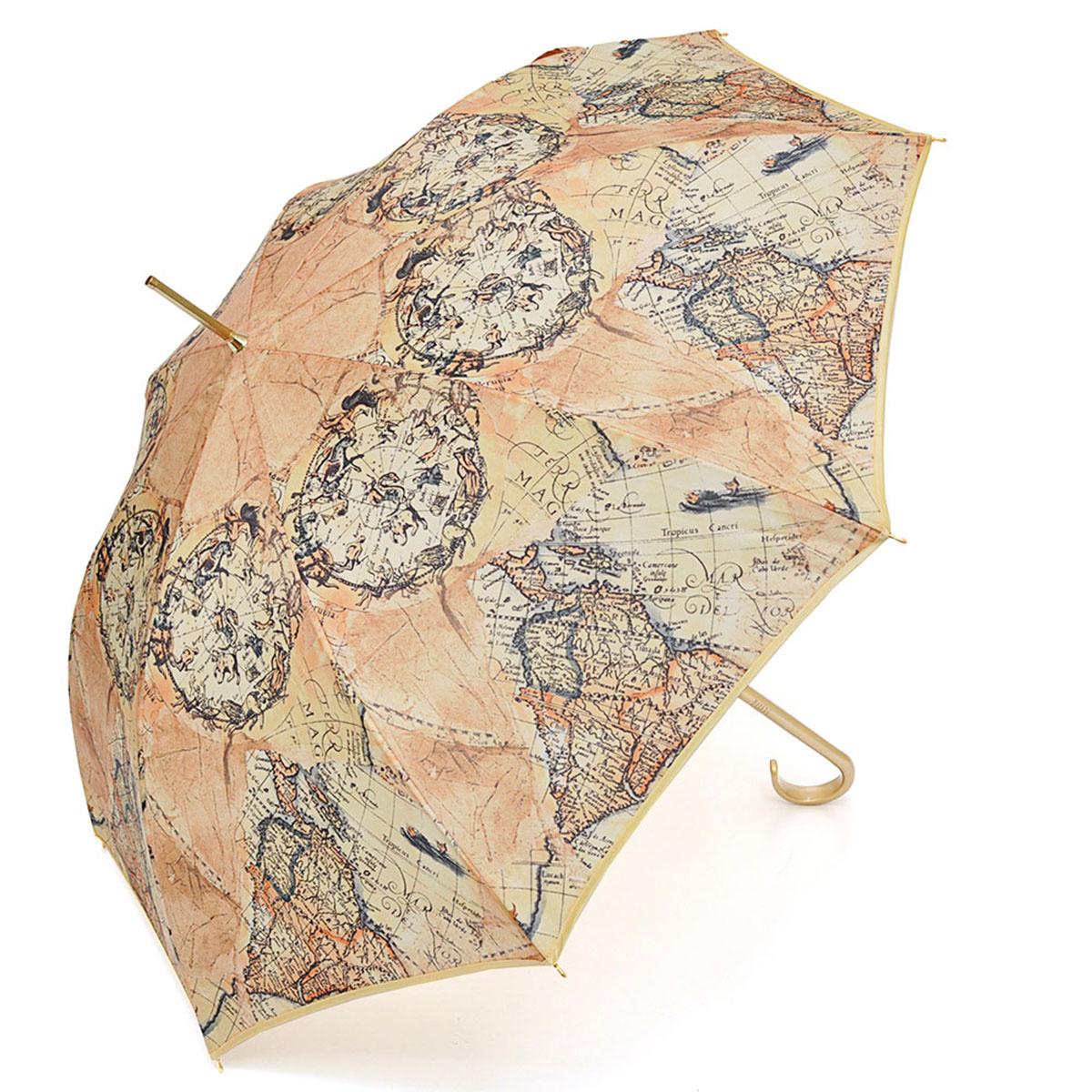 Зонт-трость женский Stilla, цвет: бежевый. 680/2 auto680/2 autoЗонт-трость Stilla надежно защитит вас от дождя. Купол, оформленный оригинальным принтом, выполнен из высококачественного ПВХ, который не пропускает воду. Каркас зонта и спицы выполнены из высококарбонистой стали. Зонт имеет автоматический тип сложения: открывается и закрывается при нажатии на кнопку. Удобная ручка выполнена из пластика.