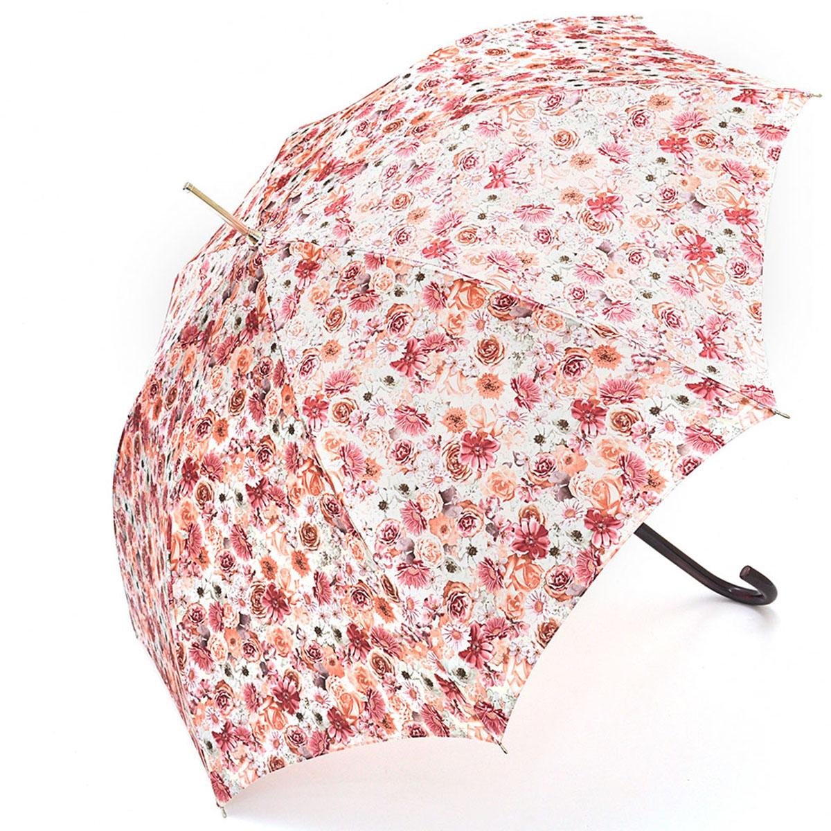 Зонт-трость женский Stilla, цвет: белый, розовый, оранжевый. 695/1 auto695/1 autoЗонт-трость Stilla надежно защитит вас от дождя. Купол, оформленный оригинальным принтом, выполнен из высококачественного ПВХ, который не пропускает воду. Каркас зонта и спицы выполнены из высококарбонистой стали. Зонт имеет автоматический тип сложения: открывается и закрывается при нажатии на кнопку. Удобная ручка выполнена из пластика.