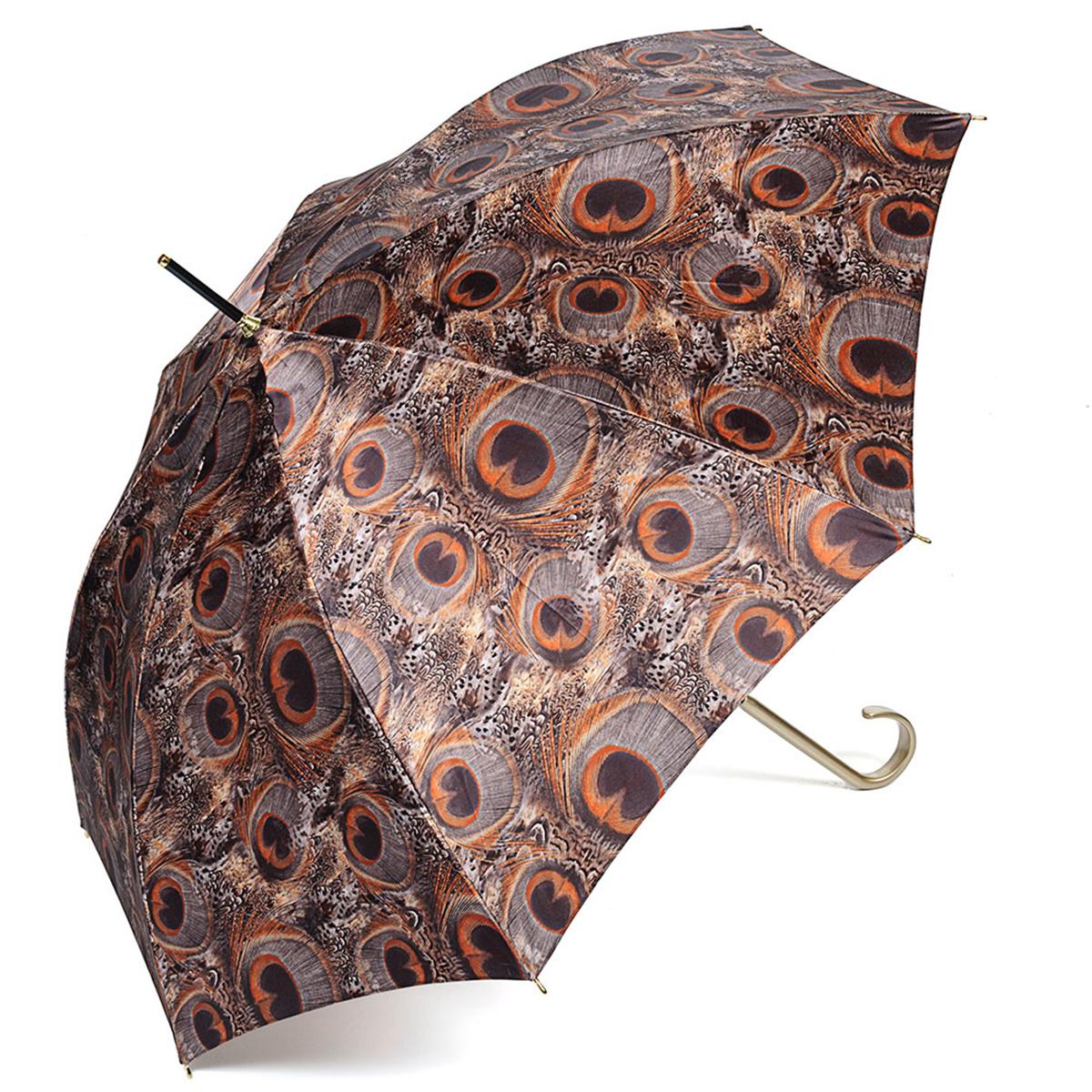 Зонт-трость женский Stilla, цвет: коричневый. 726/2 auto726/2 autoЗонт-трость Stilla надежно защитит вас от дождя. Купол, оформленный оригинальным принтом, выполнен из высококачественного ПВХ, который не пропускает воду. Каркас зонта и спицы выполнены из высококарбонистой стали. Зонт имеет автоматический тип сложения: открывается и закрывается при нажатии на кнопку. Удобная ручка выполнена из пластика.