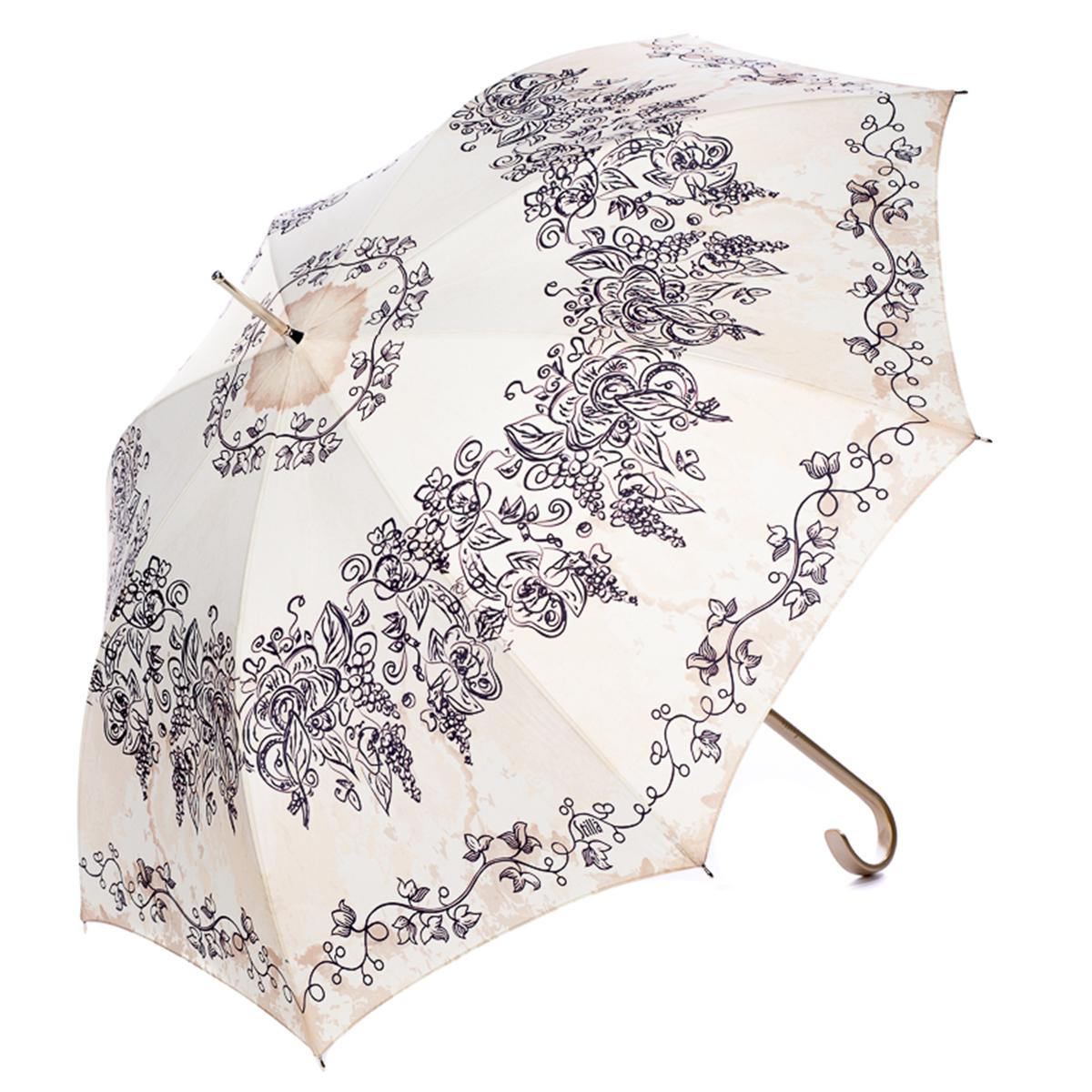 Зонт-трость женский Stilla, цвет: бежевый, темно-фиолетовый. 744/1 auto