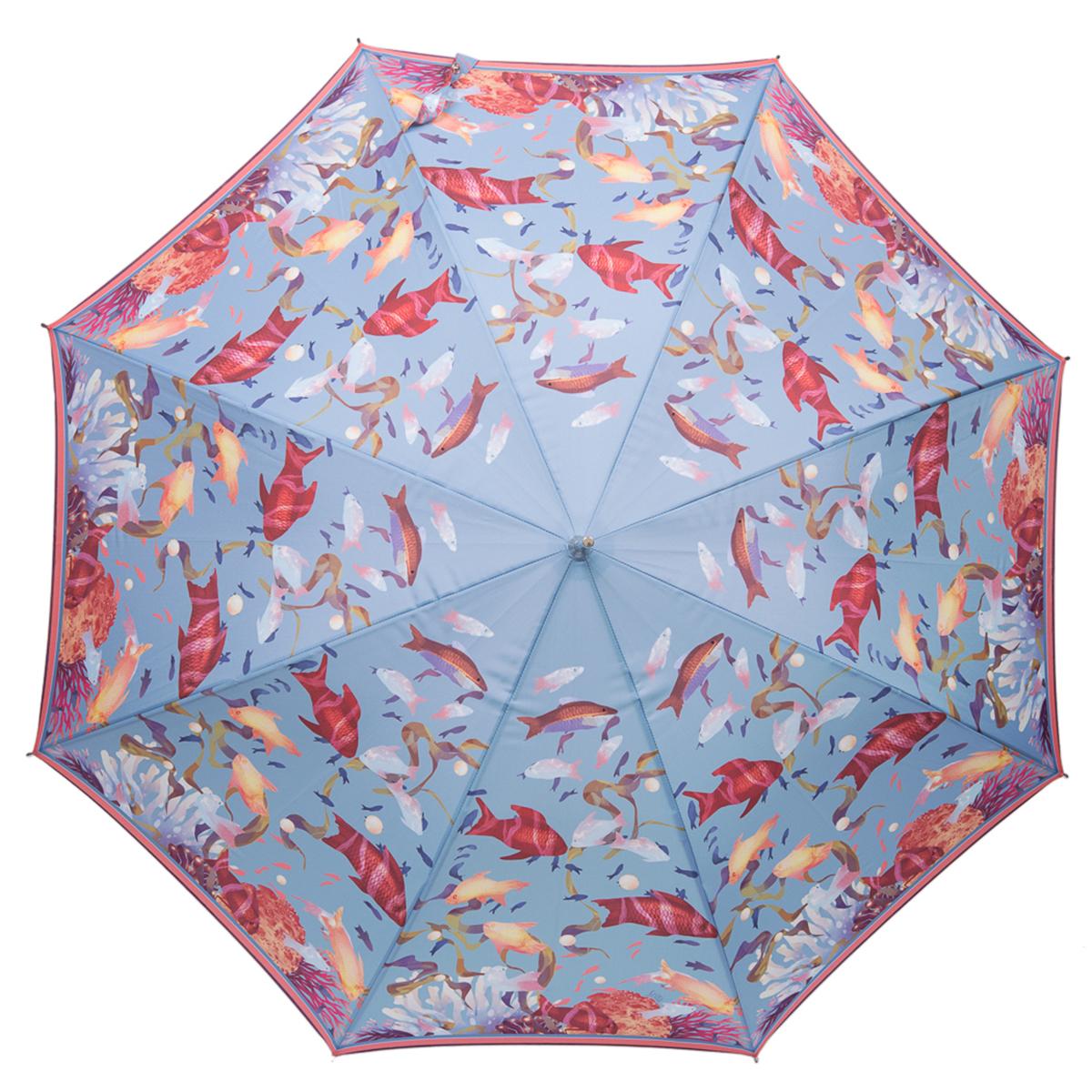 Зонт-трость женский Stilla, цвет: серо-голубой, красный. 756/1 auto756/1 autoЗонт-трость Stilla надежно защитит вас от дождя. Купол, оформленный оригинальным принтом, выполнен из высококачественного ПВХ, который не пропускает воду. Каркас зонта и спицы выполнены из высококарбонистой стали. Зонт имеет автоматический тип сложения: открывается и закрывается при нажатии на кнопку. Удобная ручка выполнена из пластика.