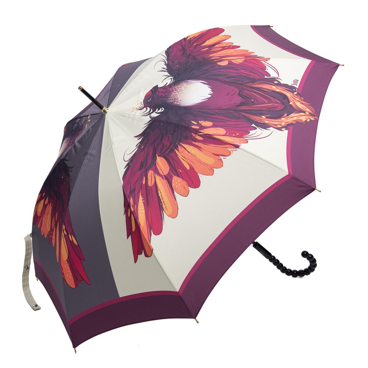 Зонт-трость женский Stilla, цвет: молочный, пурпурный, оранжевый. 760/1 auto760/1 autoЗонт-трость Stilla надежно защитит вас от дождя. Купол, оформленный оригинальным принтом, выполнен из высококачественного ПВХ, который не пропускает воду. Каркас зонта и спицы выполнены из высококарбонистой стали. Зонт имеет автоматический тип сложения: открывается и закрывается при нажатии на кнопку. Удобная ручка выполнена из пластика.