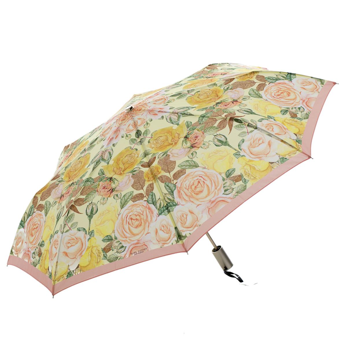 Зонт-трость женский Slava Zaitsev, механика, цвет: желтый. SZ-082SZ-082Оригинальный зонт Slava Zaitsev надежно защитит вас от непогоды. Купол, выполненный из высококачественного полиэстера, который не пропускает воду, оформлен оригинальным принтом. Каркас зонта и спицы выполнены из высококачественного металла. Зонт имеет автоматический тип сложения: открывается и закрывается при нажатии на кнопку. Удобная ручка выполнена из пластика.
