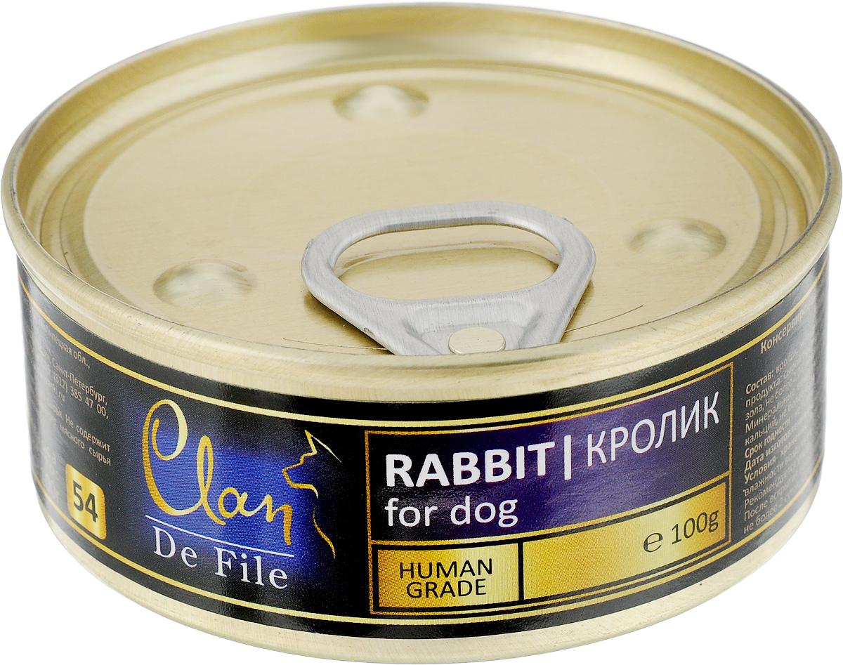 Консервы для собак Clan De File, с кроликом, 100 г130.3.044Clan De File - полнорационный влажный корм для каждодневного питания собак. У корма насыщенный вкус и сбалансированный состав. Консервы изготовлены из высококачественного мясного сырья. Для производства корма используется щадящая технология, бережно сохраняющая максимум питательных веществ и витаминов, отборное сырье и специально разработанная рецептура, которая обеспечивает продукции изысканный деликатесный вкус и ярко выраженный аромат. Товар сертифицирован.