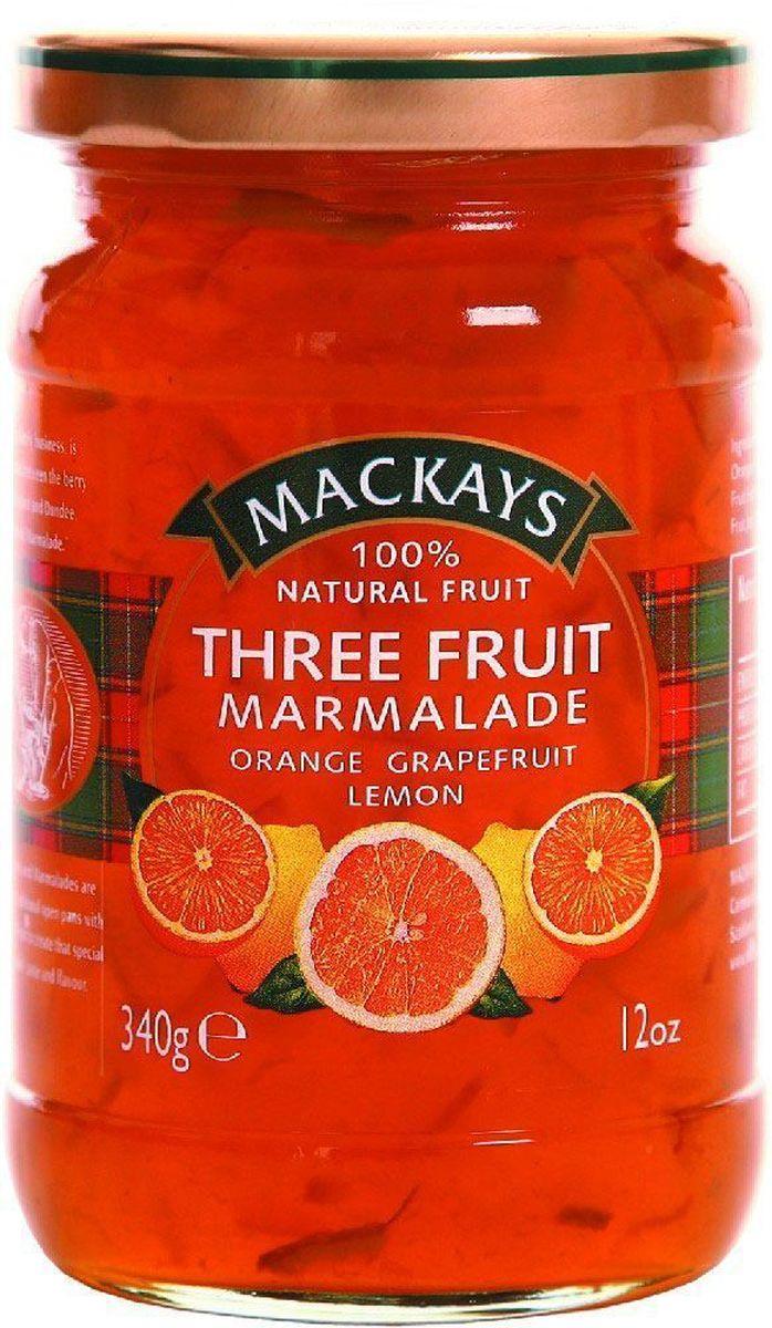 Mackays Десерт из трех фруктов (апельсин, лимон, грейпфрут), 340 г211104Для цитрусовых джемов используют только высококачественные цитрусовые фрукты от лучших производителей из Севильи и других регионов Испании. Цитрусовые вкусы апельсина, грейпфрута и лимона переплелись в этом терпком мармеладе.