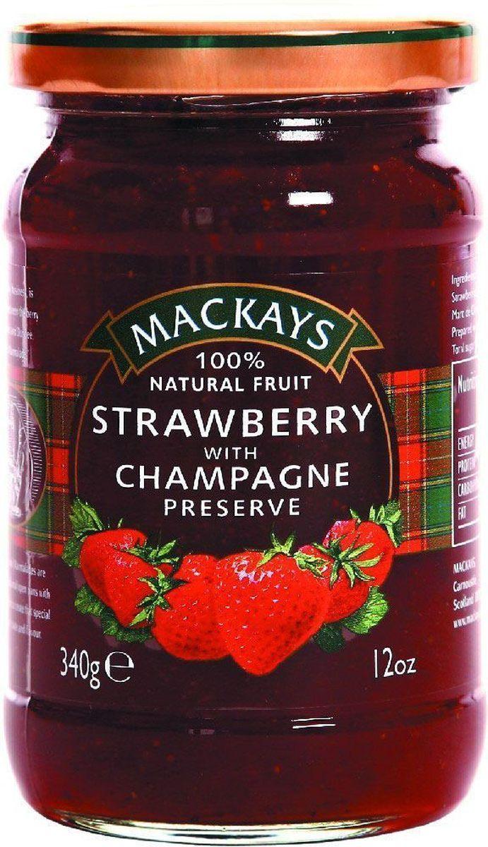 Mackays Десерт ягодный из клубники с шампанским, 340 г211114Для приготовления джемов используют только местные шотландские ягоды наивысшего качества с ягодных полей Пертшира, которые считаются одними из лучших в мире. Сервируйте роскошный завтрак с этим джемом из шотландской клубники с добавлением шампанского.