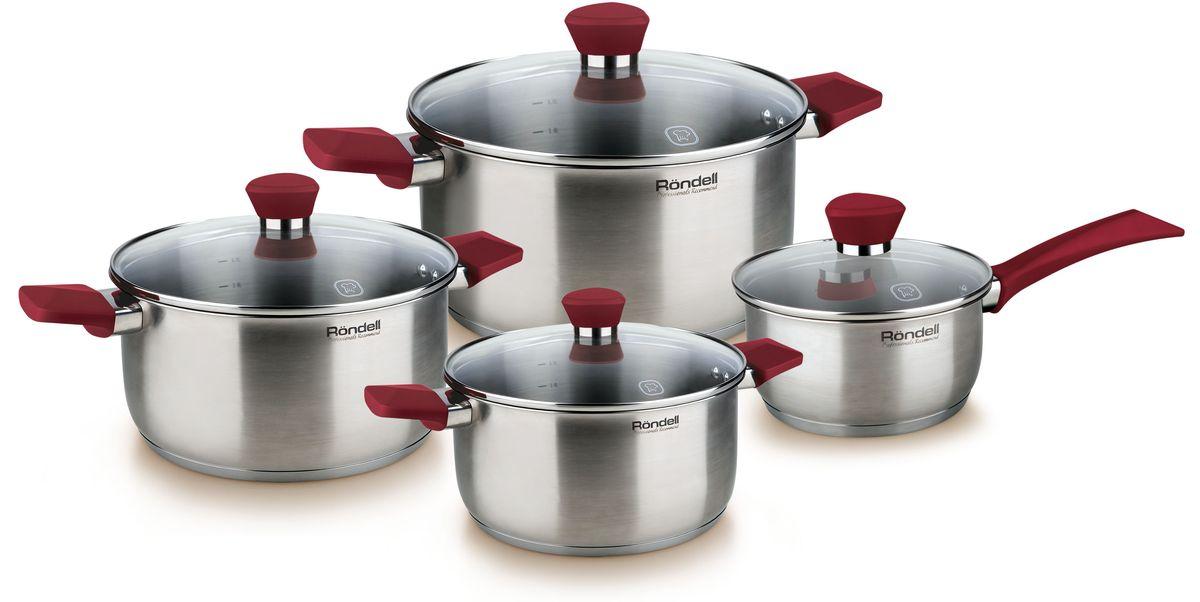 Набор посуды Rondell Strike, 8 предметов. RDS-818RDS-818Набор 8 предметов (кастрюли 18 см, 20 см, 24 см, ковш 16 см) Strike Rondell (ST)