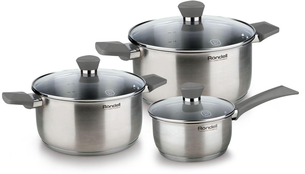 Набор посуды Rondell Strike, 6 предметов. RDS-820RDS-820Набор 6 предметов (кастрюли 20 см, 24 см, ковш 16 см) серые ручки Strike Rondell