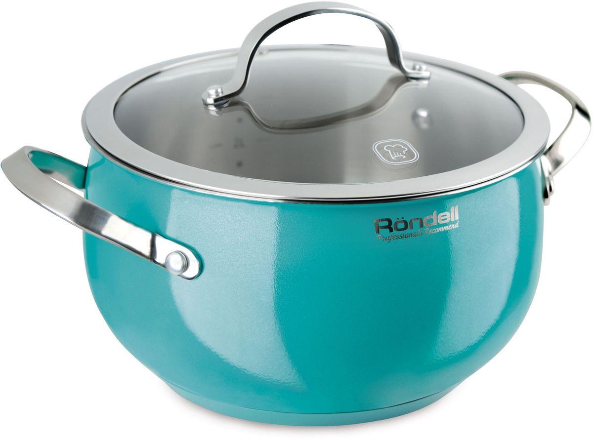 Кастрюля Rondell Turquoise, с крышкой, 5,8 л. RDS-719RDS-719Кастрюля с крышкой 22 см (5,8 л) Turquoise Rondell