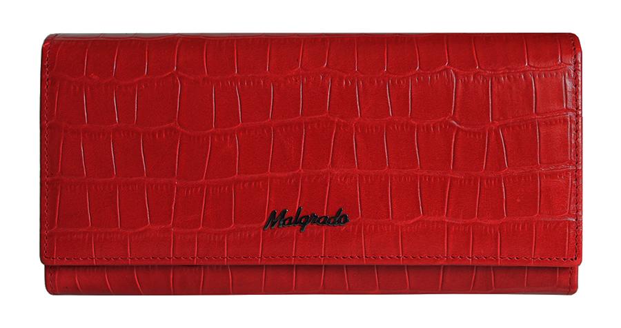 Кошелек Malgrado, цвет: красный. 72032-3-43702#72032-3-43702#Стильный кошелек Malgrado выполнен из лаковой натуральной кожи красного цвета с декоративным тиснением под рептилию, застегивается клапаном на кнопку. Внутри содержит один горизонтальный карман для бумаг, девять кармашков для кредитных карт, отделение на замке-защелке для мелочи и четыре отделения для купюр, одно из них на молнии. Кошелек упакован в подарочную металлическую коробку с логотипом фирмы. Такой кошелек станет замечательным подарком человеку, ценящему качественные и практичные вещи. Характеристики: Материал: натуральная кожа, текстиль, металл. Размер кошелька: 19 см х 10 см х 3 см. Цвет: красный. Размер упаковки: 23 см х 13 см х 4,5 см. Артикул: 72032-3-43702#.