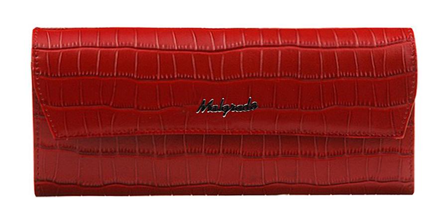 Кошелек женский Malgrado, цвет: красный. 75504-437075504-43702# RedСтильный кошелек Malgrado изготовлен из высококачественной натуральной кожи с тиснением под рептилию. Лицевая сторона оформлена гравировкой в виде названия бренда. Изделие закрывается широким клапаном на застежку-кнопку. Внутри расположены два отделения для купюр, карман для мелочи на застежке-молнии, два горизонтальных кармана для бумаг, девять кармашков для визиток и кредитных карт и потайной карман. На тыльной стороне изделия расположен втачной карман для мелких бумаг и различных документов. Кошелек упакован в подарочную металлическую коробку синего цвета с логотипом фирмы. Стильный кошелек не оставит равнодушной ни одну представительницу прекрасной половины человечества.