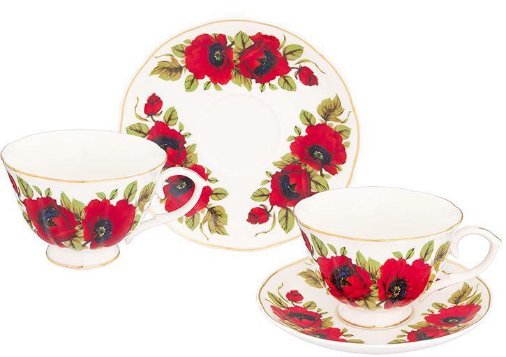 Набор чайный Elan Gallery Маки, 12 предметов740255Чайный набор на 6 персон украсит Ваше чаепитие. В комплекте 6 чашек на ножке объемом 250 мл, 6 блюдец. Изделие имеет подарочную упаковку, поэтому станет желанным подарком для Ваших близких!