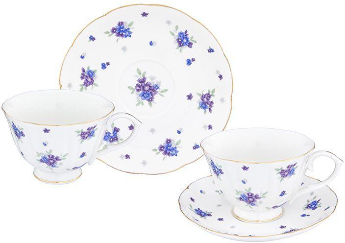 Чайная пара Elan Gallery Сиреневый туман, 4 предмета740267Шикарная чайная пара на 2 персоны в нежных тонах украсит ваше чаепитие. В комплекте 2 чашки на ножке объемом 250 мл, 2 блюдца. Изделие имеет прозрачную подарочную упаковку, поэтому станет желанным подарком для ваших близких, коллег и друзей!