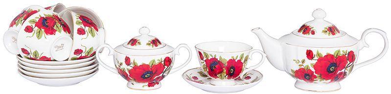 Набор чайный Elan Gallery Маки, 14 предметов740300Изысканный чайный набор с цветочным декором на 6 персон украсит Ваше чаепитие. В комплекте 6 чашек объемом 250 мл, 6 блюдец, сахарница объемом 450 мл, чайник объемом 1,1 л. Изделие имеет подарочную упаковку, поэтому станет желанным подарком для Ваших близких! Соберите всю коллекцию предметов сервировки Маки и Ваши гости будут в восторге!