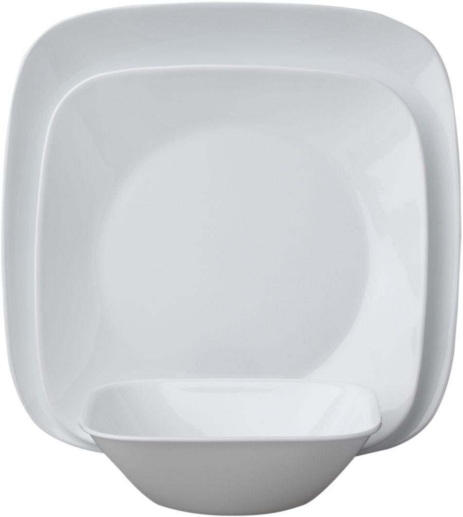 Набор столовой посуды Corelle Pure White, 18 предметов. 10886411088641Посуда Corelle мирового бренда WorldKitchen сделана из материала Vitrelle. Стекло Vitrelle является экологически чистым материалом без посторонних добавок. Идеальный белый цвет посуды достигается путем сверхвысокой термической обработки компонентов. Vitrelle сверхпрочный материал, используемый для столовой посуды, изобретенный в начале 1970х в Соединенных Штатах Америки. Материал сделан из трех слоев стекла спеченных вместе. Посуда Vitrelle тонка и легка при том, что является более ударопрочной по сравнению с обычной столовой посудой. Соль, полевой шпат, известняк, и 2 других вида соли попадают в печь, где при 1400 градусов Цельсия превращаются в жидкое стекло. Стекло заливается в молды, где соединяются 3 слоя в один. Края посуды обрабатываются огненной полировкой. Проходя через дополнительную обработку, три слоя приобретают сверхпрочность. Путем шелкографии на днище наносится бренд, а так же дополнительная информация. Узор на посуде так же наносится путем шелкографии. Готовая посуда...