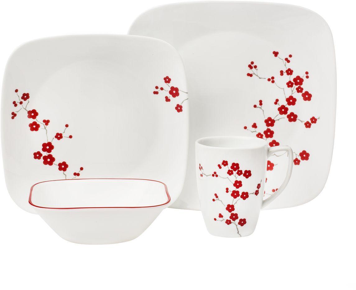 Набор столовой посуды Corelle Hanami Garden, 16 предметов. 11012971101297Посуда Corelle мирового бренда WorldKitchen сделана из материала Vitrelle. Стекло Vitrelle является экологически чистым материалом без посторонних добавок. Идеальный белый цвет посуды достигается путем сверхвысокой термической обработки компонентов. Vitrelle сверхпрочный материал, используемый для столовой посуды, изобретенный в начале 1970х в Соединенных Штатах Америки. Материал сделан из трех слоев стекла спеченных вместе. Посуда Vitrelle тонка и легка при том, что является более ударопрочной по сравнению с обычной столовой посудой. Соль, полевой шпат, известняк, и 2 других вида соли попадают в печь, где при 1400 градусов Цельсия превращаются в жидкое стекло. Стекло заливается в молды, где соединяются 3 слоя в один. Края посуды обрабатываются огненной полировкой. Проходя через дополнительную обработку, три слоя приобретают сверхпрочность. Путем шелкографии на днище наносится бренд, а так же дополнительная информация. Узор на посуде так же наносится путем шелкографии. Готовая посуда...