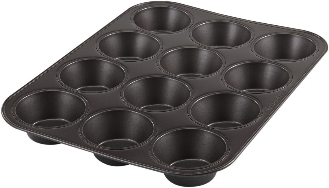 Форма для выпечки маффинов Bakers Secret Essentials, 12 ячеек, цвет: темно-серый. 11143661114366Коллекция форм для выпечки тортов Bakers Secret из США являются хорошим приобретением любой хозяйки. Данные товары пользуются спросом, поскольку их отличает высокое качество. Формы для запекания Bakers Secret - выполнены из высококачественной стали. Внешнее антипригарное покрытие для удобства ухода и утолщенные стенки гарантируют равномерное пропекание изделия. Стальные формы для запекания стали популярными намного позже чугунных и керамических, и главное их преимущество – это абсолютная химическая нейтральность. Качественная нержавеющая сталь никак не скажется на вкусе готовой пищи и не будет подвержена воздействию кислот и щелочей, содержащихся в моющих средствах. Можно мыть в посудомоечной машине.