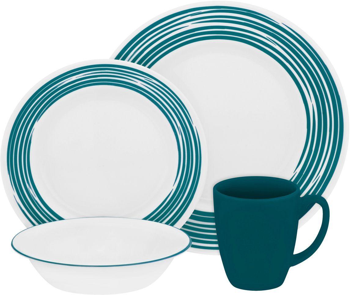 Набор столовой посуды Corelle Brushed Turquoise, 16 предметов. 11170231117023Посуда Corelle мирового бренда WorldKitchen сделана из материала Vitrelle. Стекло Vitrelle является экологически чистым материалом без посторонних добавок. Идеальный белый цвет посуды достигается путем сверхвысокой термической обработки компонентов. Vitrelle сверхпрочный материал, используемый для столовой посуды, изобретенный в начале 1970х в Соединенных Штатах Америки. Материал сделан из трех слоев стекла спеченных вместе. Посуда Vitrelle тонка и легка при том, что является более ударопрочной по сравнению с обычной столовой посудой. Соль, полевой шпат, известняк, и 2 других вида соли попадают в печь, где при 1400 градусов Цельсия превращаются в жидкое стекло. Стекло заливается в молды, где соединяются 3 слоя в один. Края посуды обрабатываются огненной полировкой. Проходя через дополнительную обработку, три слоя приобретают сверхпрочность. Путем шелкографии на днище наносится бренд, а так же дополнительная информация. Узор на посуде так же наносится путем шелкографии. Готовая посуда...