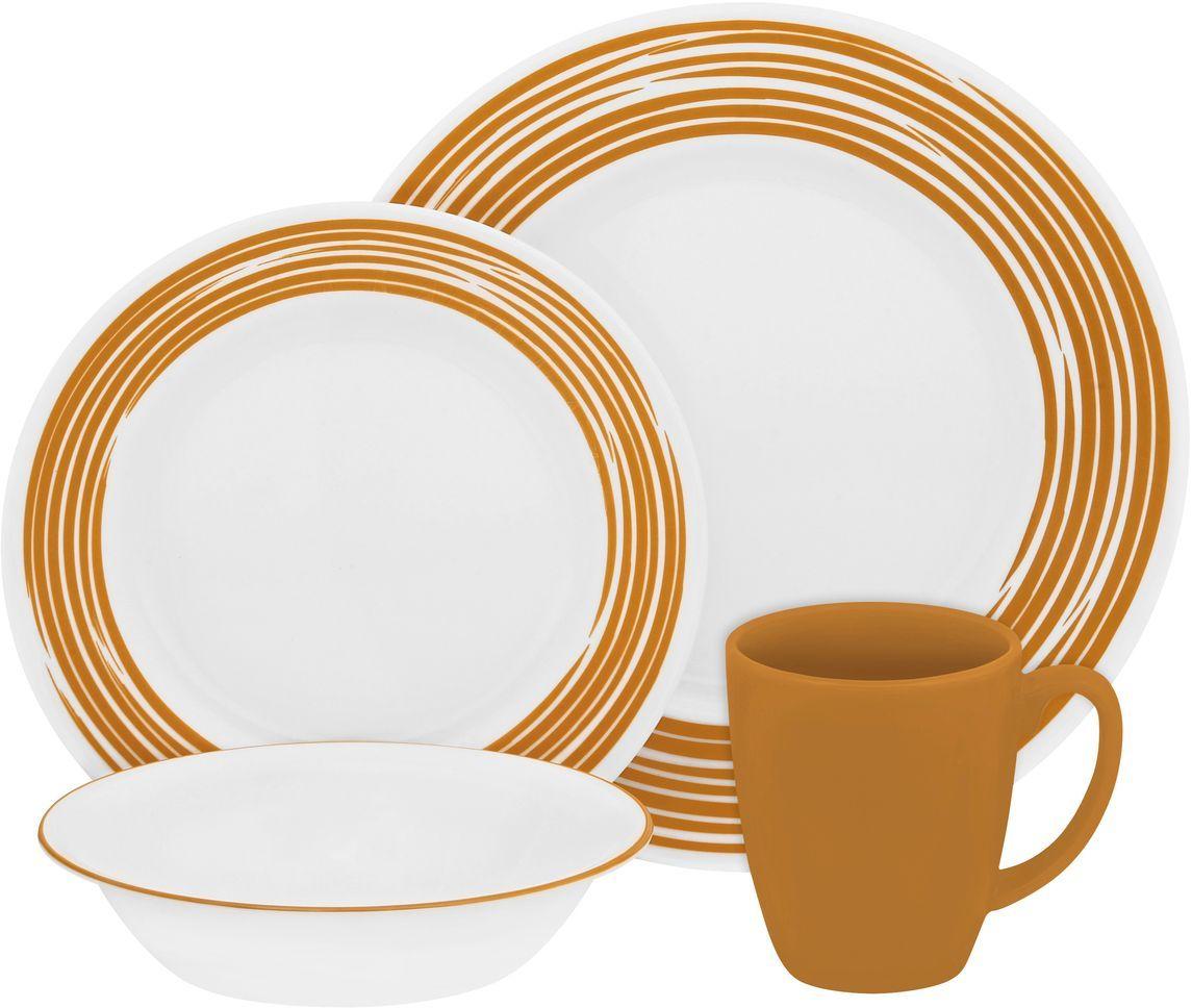 Набор столовой посуды Corelle Brushed Yellow, 16 предметов. 11170311117031Посуда Corelle мирового бренда WorldKitchen сделана из материала Vitrelle. Стекло Vitrelle является экологически чистым материалом без посторонних добавок. Идеальный белый цвет посуды достигается путем сверхвысокой термической обработки компонентов. Vitrelle сверхпрочный материал, используемый для столовой посуды, изобретенный в начале 1970х в Соединенных Штатах Америки. Материал сделан из трех слоев стекла спеченных вместе. Посуда Vitrelle тонка и легка при том, что является более ударопрочной по сравнению с обычной столовой посудой. Соль, полевой шпат, известняк, и 2 других вида соли попадают в печь, где при 1400 градусов Цельсия превращаются в жидкое стекло. Стекло заливается в молды, где соединяются 3 слоя в один. Края посуды обрабатываются огненной полировкой. Проходя через дополнительную обработку, три слоя приобретают сверхпрочность. Путем шелкографии на днище наносится бренд, а так же дополнительная информация. Узор на посуде так же наносится путем шелкографии. Готовая посуда...