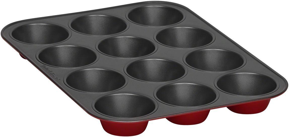 Форма для выпечки маффинов Bakers Secret Colors. Red Velvet, 12 ячеек, цвет: красный. 11232191123219Коллекция форм для выпечки тортов Bakers Secret из США являются хорошим приобретением любой хозяйки. Данные товары пользуются спросом, поскольку их отличает высокое качество. Формы для запекания Bakers Secret - выполнены из высококачественной стали. Внешнее антипригарное покрытие для удобства ухода и утолщенные стенки гарантируют равномерное пропекание изделия. Стальные формы для запекания стали популярными намного позже чугунных и керамических, и главное их преимущество – это абсолютная химическая нейтральность. Качественная нержавеющая сталь никак не скажется на вкусе готовой пищи и не будет подвержена воздействию кислот и щелочей, содержащихся в моющих средствах. Можно мыть в посудомоечной машине.