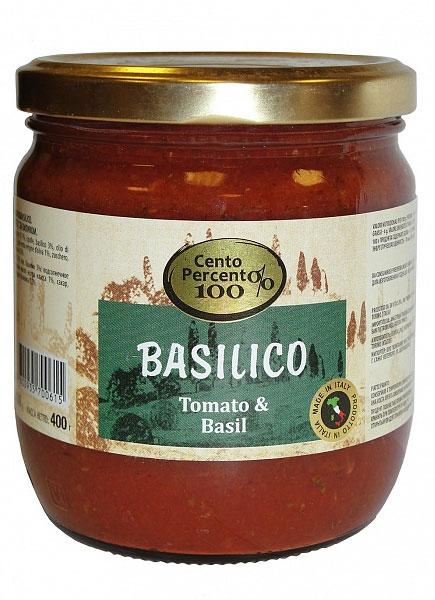 Cento Percento соус томатный с базиликом, 400 г169092Томатный соус с базиликом Cento Percento - это классическое сочетание спелых томатов и душистого базилика в сопровождении смеси масел, специй и морской соли. Подходит для приготовления пасты, пиццы. Запеченное в нем мясо или рыба приобретают мягкость и аппетитный аромат.
