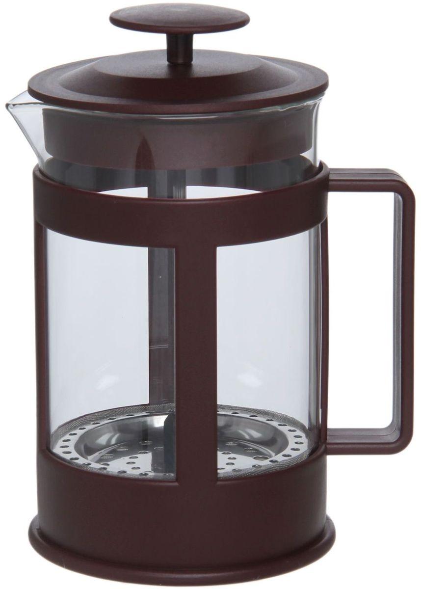 Френч-пресс Доляна Классика, цвет: коричневый, 800 мл1075434Френч-пресс —приспособление для приготовления чая и кофе. Он пользуется огромным спросом у любителей этих напитков, ведь изделие довольно простое в использовании и имеет ряд других преимуществ: чай в нём быстрее заваривается; ёмкость позволяет наиболее полно раскрыться вкусовым качествам напитка; вы можете готовить кофе и чай с любимыми специями и травами. Как сделать вкусный кофе при помощи френч-пресса? Сначала вам нужно перемолоть зёрна. Степень помола — грубая. Вскипятите воду. Насыпьте кофе в изделие и медленно залейте его кипятком из чайника. Сначала наполните приспособление до середины, подождите 1 минуту и долейте остальное. Накройте крышкой, пусть напиток настоится ещё 3 минуты. Медленно опустите поршень. Оставьте кофе на 3 минуты, чтобы опустился осадок. Ваш напиток готов!