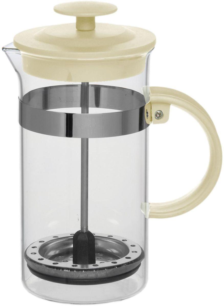 Френч-пресс Доляна Гарсон, цвет: молочный, 350 мл1075449Френч-пресс —приспособление для приготовления чая и кофе. Он пользуется огромным спросом у любителей этих напитков, ведь изделие довольно простое в использовании и имеет ряд других преимуществ: чай в нём быстрее заваривается; ёмкость позволяет наиболее полно раскрыться вкусовым качествам напитка; вы можете готовить кофе и чай с любимыми специями и травами. Как сделать вкусный кофе при помощи френч-пресса? Сначала вам нужно перемолоть зёрна. Степень помола — грубая. Вскипятите воду. Насыпьте кофе в изделие и медленно залейте его кипятком из чайника. Сначала наполните приспособление до середины, подождите 1 минуту и долейте остальное. Накройте крышкой, пусть напиток настоится ещё 3 минуты. Медленно опустите поршень. Оставьте кофе на 3 минуты, чтобы опустился осадок. Ваш напиток готов!