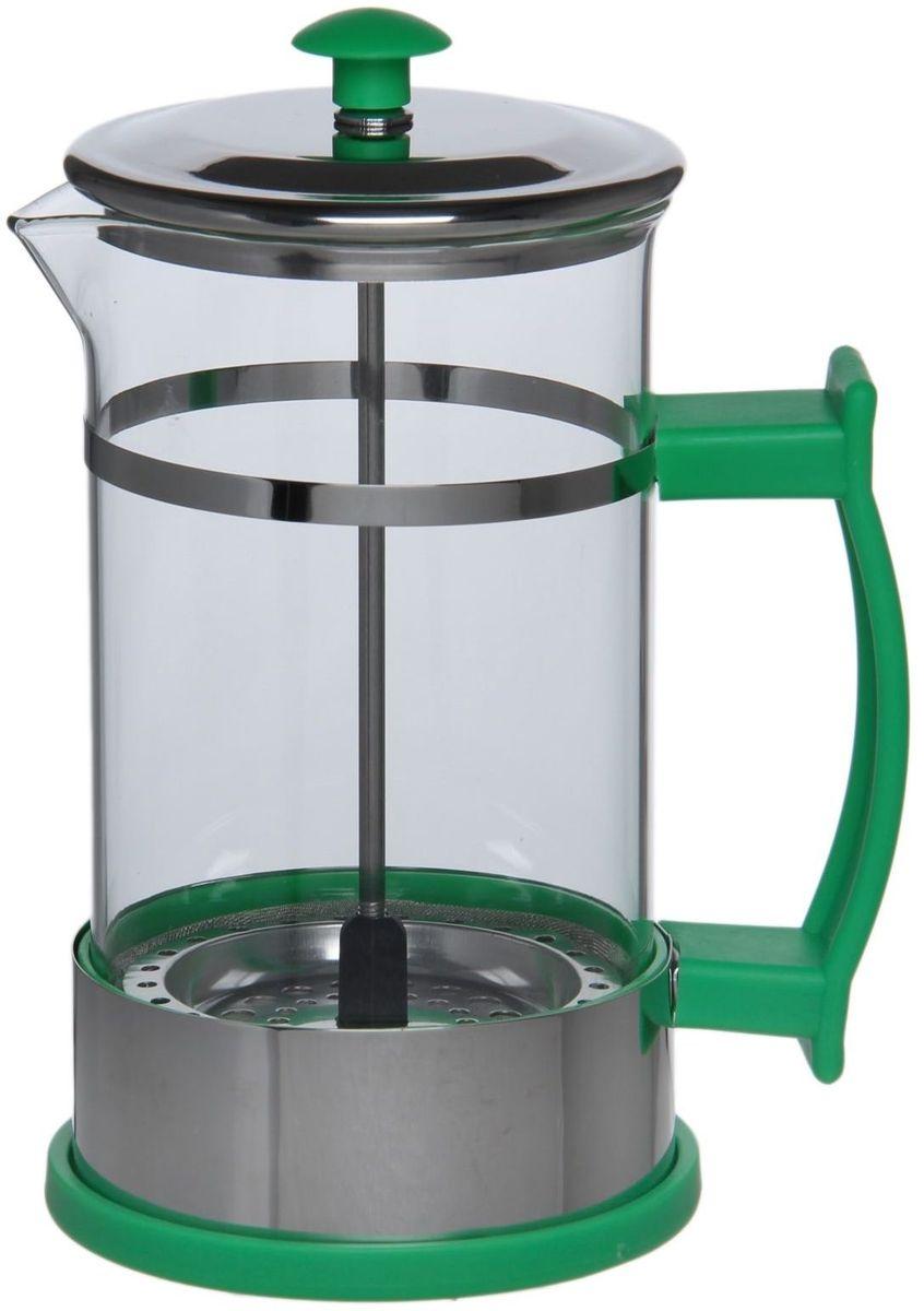 Френч-пресс Доляна Риц, цвет: зеленый, 600 мл1075460Френч-пресс —приспособление для приготовления чая и кофе. Он пользуется огромным спросом у любителей этих напитков, ведь изделие довольно простое в использовании и имеет ряд других преимуществ: чай в нём быстрее заваривается; ёмкость позволяет наиболее полно раскрыться вкусовым качествам напитка; вы можете готовить кофе и чай с любимыми специями и травами. Как сделать вкусный кофе при помощи френч-пресса? Сначала вам нужно перемолоть зёрна. Степень помола — грубая. Вскипятите воду. Насыпьте кофе в изделие и медленно залейте его кипятком из чайника. Сначала наполните приспособление до середины, подождите 1 минуту и долейте остальное. Накройте крышкой, пусть напиток настоится ещё 3 минуты. Медленно опустите поршень. Оставьте кофе на 3 минуты, чтобы опустился осадок. Ваш напиток готов!