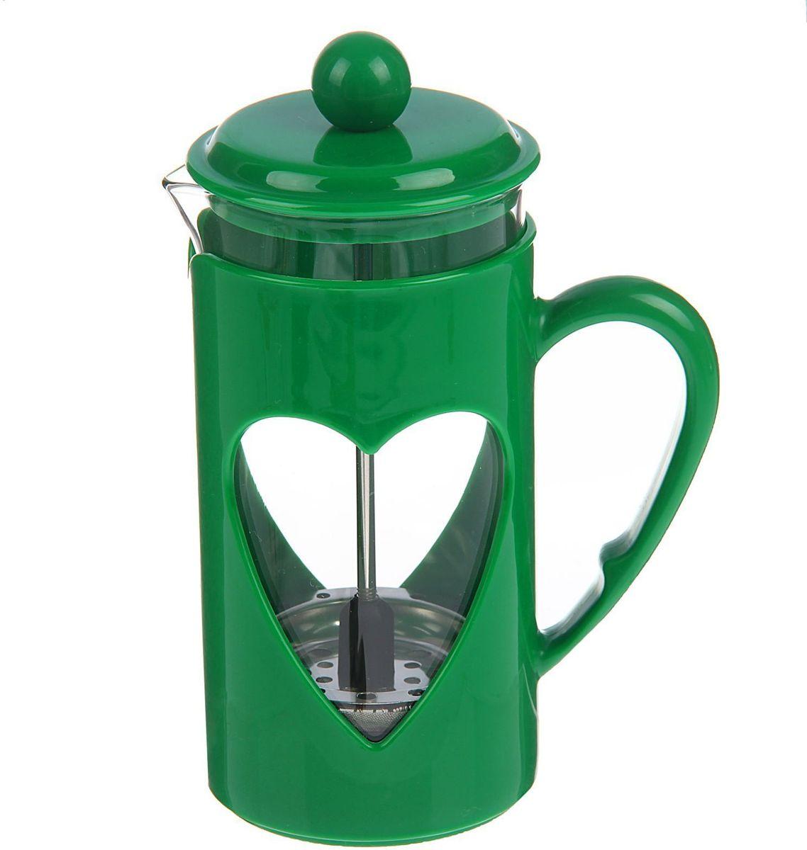 Френч-пресс Доляна Комплимент, цвет: зеленый, 350 мл1379238Френч-пресс —приспособление для приготовления чая и кофе. Он пользуется огромным спросом у любителей этих напитков, ведь изделие довольно простое в использовании и имеет ряд других преимуществ: чай в нём быстрее заваривается; ёмкость позволяет наиболее полно раскрыться вкусовым качествам напитка; вы можете готовить кофе и чай с любимыми специями и травами. Как сделать вкусный кофе при помощи френч-пресса? Сначала вам нужно перемолоть зёрна. Степень помола — грубая. Вскипятите воду. Насыпьте кофе в изделие и медленно залейте его кипятком из чайника. Сначала наполните приспособление до середины, подождите 1 минуту и долейте остальное. Накройте крышкой, пусть напиток настоится ещё 3 минуты. Медленно опустите поршень. Оставьте кофе на 3 минуты, чтобы опустился осадок. Ваш напиток готов!
