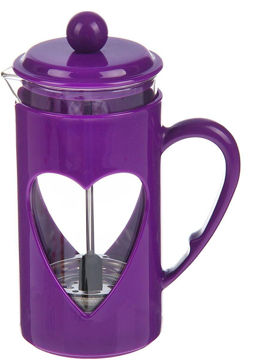 Френч-пресс Доляна Комплимент, цвет: фиолетовый, 350 мл1379239Френч-пресс —приспособление для приготовления чая и кофе. Он пользуется огромным спросом у любителей этих напитков, ведь изделие довольно простое в использовании и имеет ряд других преимуществ: чай в нём быстрее заваривается; ёмкость позволяет наиболее полно раскрыться вкусовым качествам напитка; вы можете готовить кофе и чай с любимыми специями и травами. Как сделать вкусный кофе при помощи френч-пресса? Сначала вам нужно перемолоть зёрна. Степень помола — грубая. Вскипятите воду. Насыпьте кофе в изделие и медленно залейте его кипятком из чайника. Сначала наполните приспособление до середины, подождите 1 минуту и долейте остальное. Накройте крышкой, пусть напиток настоится ещё 3 минуты. Медленно опустите поршень. Оставьте кофе на 3 минуты, чтобы опустился осадок. Ваш напиток готов!