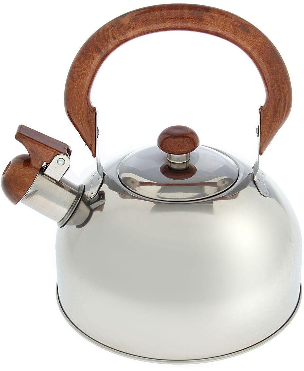 Чайник Доляна Палисандр, со свистком, 2 л1405198Бытовая посуда из нержавеющей стали славится неприхотливостью в уходе и безукоризненной функциональностью. Коррозиестойкий сплав обеспечивает гигиеничность изделий. Чайники из этого материала абсолютно безопасны для здоровья человека. Чем привлекательна посуда из нержавейки? Чайник из нержавеющей стали станет удачной находкой для дома или ресторана: благодаря низкой теплопроводности модели вода дольше остается горячей; необычный дизайн радует глаз и поднимает настроение; качественное дно гарантирует быстрый нагрев. Как продлить срок службы? Ухаживать за новым приобретением элементарно просто, но стоит помнить о нескольких нехитрых правилах. Во-первых, не следует применять абразивные инструменты и сильнохлорированные моющие средства. Во-вторых, не оставляйте пустую посуду на плите. В-третьих, если вы уезжаете из дома на длительное время - выливайте воду из чайника. Если на внутренней поверхности изделия появились пятна, используйте для их удаления несколько капель уксусной или лимонной...
