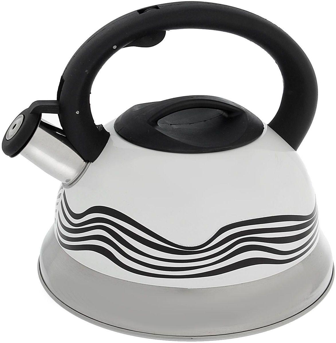 Чайник Доляна Волна, со свистком, с индикатором нагрева, 2,8 л1405207Бытовая посуда из нержавеющей стали славится неприхотливостью в уходе и безукоризненной функциональностью. Коррозиестойкий сплав обеспечивает гигиеничность изделий. Чайники из этого материала абсолютно безопасны для здоровья человека. Чем привлекательна посуда из нержавейки? Чайник из нержавеющей стали станет удачной находкой для дома или ресторана: благодаря низкой теплопроводности модели вода дольше остается горячей; необычный дизайн радует глаз и поднимает настроение; качественное дно гарантирует быстрый нагрев. Как продлить срок службы? Ухаживать за новым приобретением элементарно просто, но стоит помнить о нескольких нехитрых правилах. Во-первых, не следует применять абразивные инструменты и сильнохлорированные моющие средства. Во-вторых, не оставляйте пустую посуду на плите. В-третьих, если вы уезжаете из дома на длительное время - выливайте воду из чайника. Если на внутренней поверхности изделия появились пятна, используйте для их удаления несколько капель уксусной или лимонной...