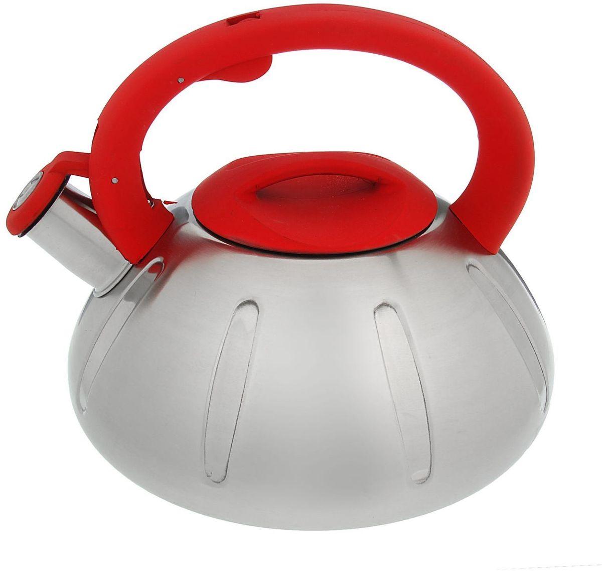 Чайник Доляна Глобал, со свистком, цвет: красный, 2,8 л1405210Бытовая посуда из нержавеющей стали славится неприхотливостью в уходе и безукоризненной функциональностью. Коррозиестойкий сплав обеспечивает гигиеничность изделий. Чайники из этого материала абсолютно безопасны для здоровья человека. Чем привлекательна посуда из нержавейки? Чайник из нержавеющей стали станет удачной находкой для дома или ресторана: благодаря низкой теплопроводности модели вода дольше остается горячей; необычный дизайн радует глаз и поднимает настроение; качественное дно гарантирует быстрый нагрев. Как продлить срок службы? Ухаживать за новым приобретением элементарно просто, но стоит помнить о нескольких нехитрых правилах. Во-первых, не следует применять абразивные инструменты и сильнохлорированные моющие средства. Во-вторых, не оставляйте пустую посуду на плите. В-третьих, если вы уезжаете из дома на длительное время - выливайте воду из чайника. Если на внутренней поверхности изделия появились пятна, используйте для их удаления несколько капель уксусной или лимонной...