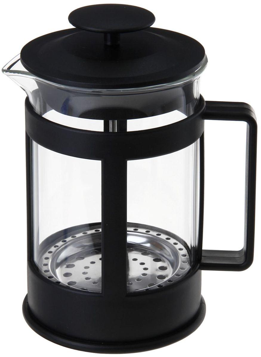 Френч-пресс Доляна Классика, цвет: черный, 350 мл863184Френч-пресс —приспособление для приготовления чая и кофе. Он пользуется огромным спросом у любителей этих напитков, ведь изделие довольно простое в использовании и имеет ряд других преимуществ: чай в нём быстрее заваривается; ёмкость позволяет наиболее полно раскрыться вкусовым качествам напитка; вы можете готовить кофе и чай с любимыми специями и травами. Как сделать вкусный кофе при помощи френч-пресса? Сначала вам нужно перемолоть зёрна. Степень помола — грубая. Вскипятите воду. Насыпьте кофе в изделие и медленно залейте его кипятком из чайника. Сначала наполните приспособление до середины, подождите 1 минуту и долейте остальное. Накройте крышкой, пусть напиток настоится ещё 3 минуты. Медленно опустите поршень. Оставьте кофе на 3 минуты, чтобы опустился осадок. Ваш напиток готов!
