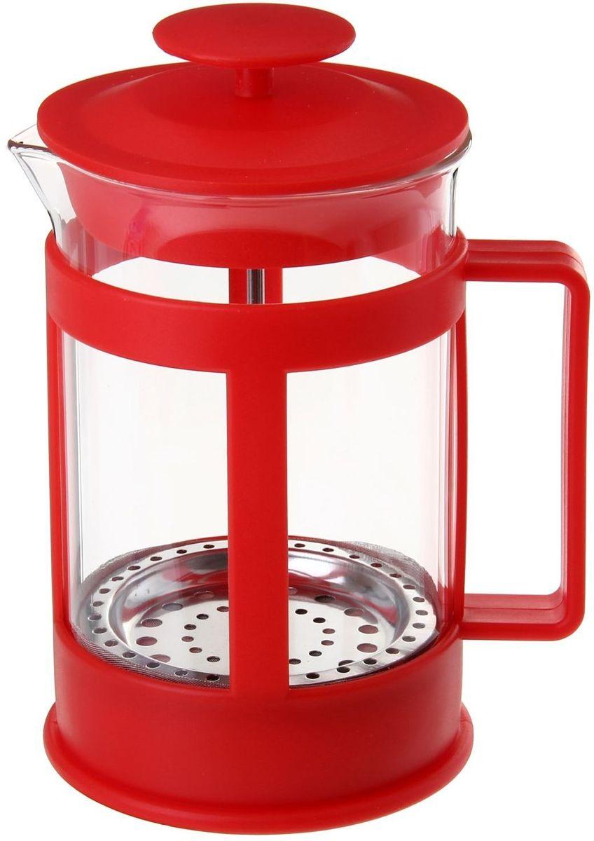 Френч-пресс Доляна Классика, цвет: красный, 350 мл863186Френч-пресс —приспособление для приготовления чая и кофе. Он пользуется огромным спросом у любителей этих напитков, ведь изделие довольно простое в использовании и имеет ряд других преимуществ: чай в нём быстрее заваривается; ёмкость позволяет наиболее полно раскрыться вкусовым качествам напитка; вы можете готовить кофе и чай с любимыми специями и травами. Как сделать вкусный кофе при помощи френч-пресса? Сначала вам нужно перемолоть зёрна. Степень помола — грубая. Вскипятите воду. Насыпьте кофе в изделие и медленно залейте его кипятком из чайника. Сначала наполните приспособление до середины, подождите 1 минуту и долейте остальное. Накройте крышкой, пусть напиток настоится ещё 3 минуты. Медленно опустите поршень. Оставьте кофе на 3 минуты, чтобы опустился осадок. Ваш напиток готов!