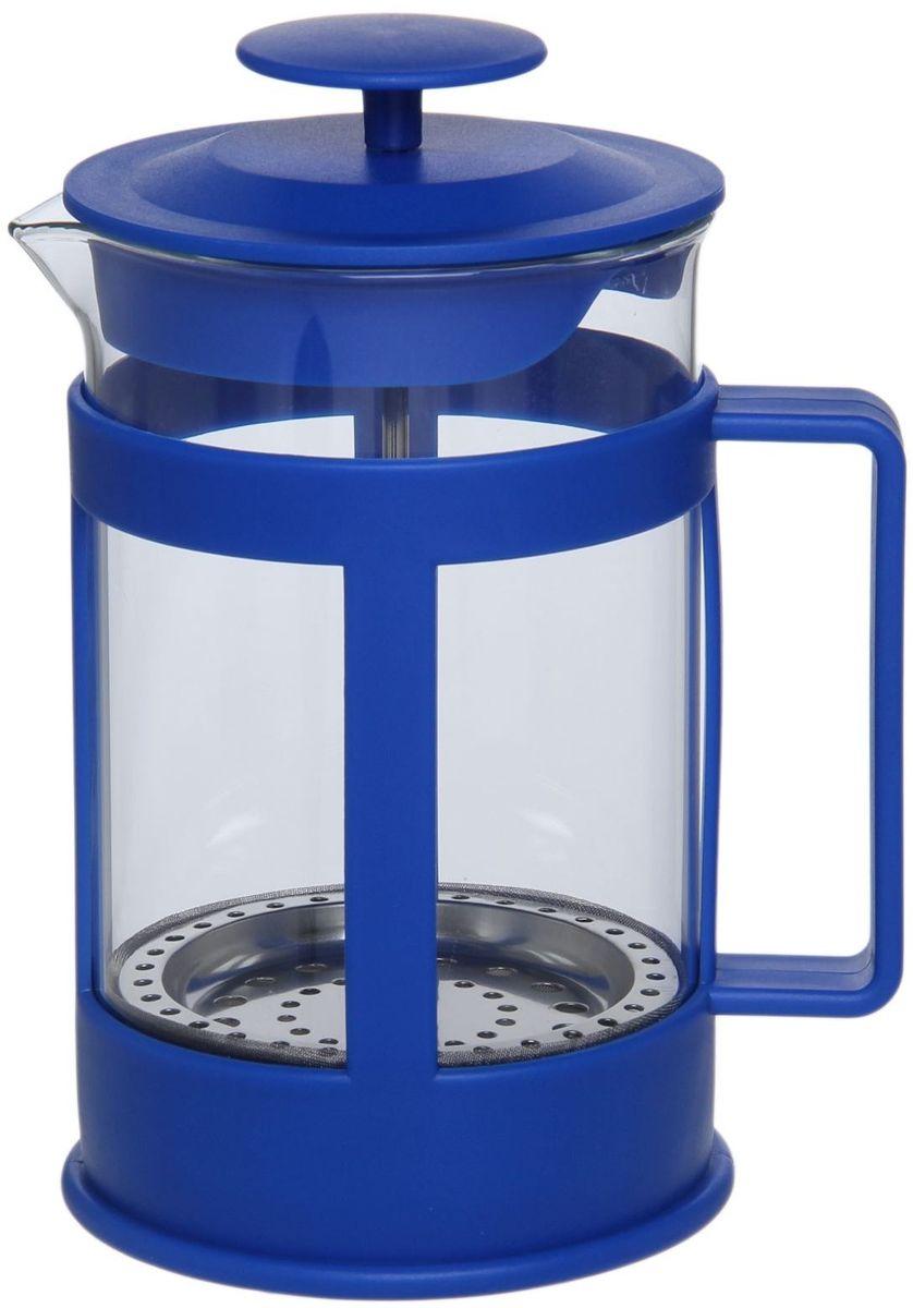 Френч-пресс Доляна Классика, цвет: синий, 800 мл863191Френч-пресс —приспособление для приготовления чая и кофе. Он пользуется огромным спросом у любителей этих напитков, ведь изделие довольно простое в использовании и имеет ряд других преимуществ: чай в нём быстрее заваривается; ёмкость позволяет наиболее полно раскрыться вкусовым качествам напитка; вы можете готовить кофе и чай с любимыми специями и травами. Как сделать вкусный кофе при помощи френч-пресса? Сначала вам нужно перемолоть зёрна. Степень помола — грубая. Вскипятите воду. Насыпьте кофе в изделие и медленно залейте его кипятком из чайника. Сначала наполните приспособление до середины, подождите 1 минуту и долейте остальное. Накройте крышкой, пусть напиток настоится ещё 3 минуты. Медленно опустите поршень. Оставьте кофе на 3 минуты, чтобы опустился осадок. Ваш напиток готов!