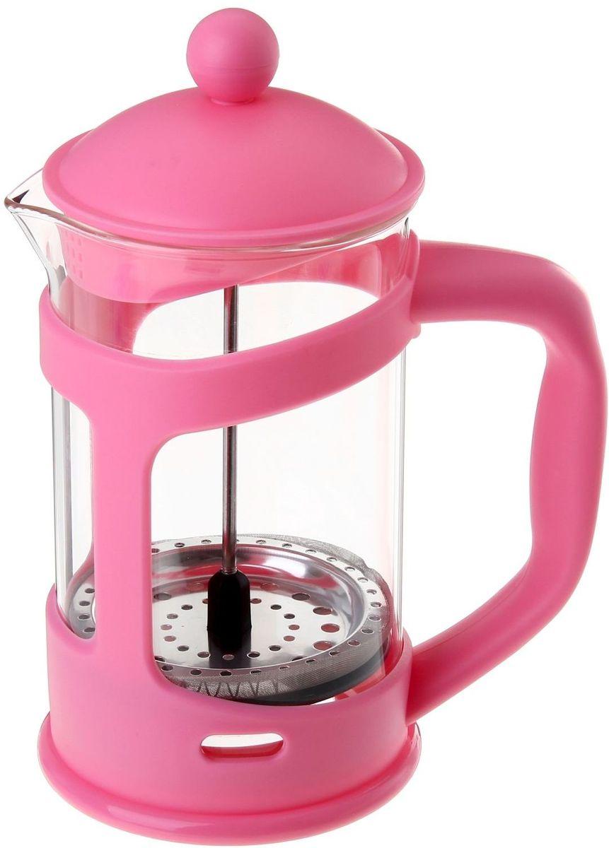 Френч-пресс Доляна Домашнее тепло, цвет: розовый, 800 мл863196Френч-пресс —приспособление для приготовления чая и кофе. Он пользуется огромным спросом у любителей этих напитков, ведь изделие довольно простое в использовании и имеет ряд других преимуществ: чай в нём быстрее заваривается; ёмкость позволяет наиболее полно раскрыться вкусовым качествам напитка; вы можете готовить кофе и чай с любимыми специями и травами. Как сделать вкусный кофе при помощи френч-пресса? Сначала вам нужно перемолоть зёрна. Степень помола — грубая. Вскипятите воду. Насыпьте кофе в изделие и медленно залейте его кипятком из чайника. Сначала наполните приспособление до середины, подождите 1 минуту и долейте остальное. Накройте крышкой, пусть напиток настоится ещё 3 минуты. Медленно опустите поршень. Оставьте кофе на 3 минуты, чтобы опустился осадок. Ваш напиток готов!