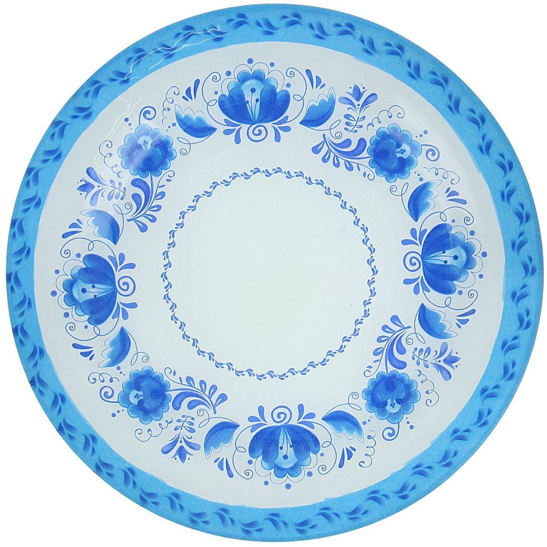 Тарелка Доляна Гжель, диаметр 22 см1571461Столовая посуда с природными мотивами в оформлении разнообразит интерьер кухни и сделает застолье самобытным и запоминающимся. Достоинства: качественное стекло не впитывает запахов; гладкая поверхность обеспечивает лёгкость мытья. Рекомендуется избегать использования абразивных моющих средств. Делайте любимый дом уютнее!