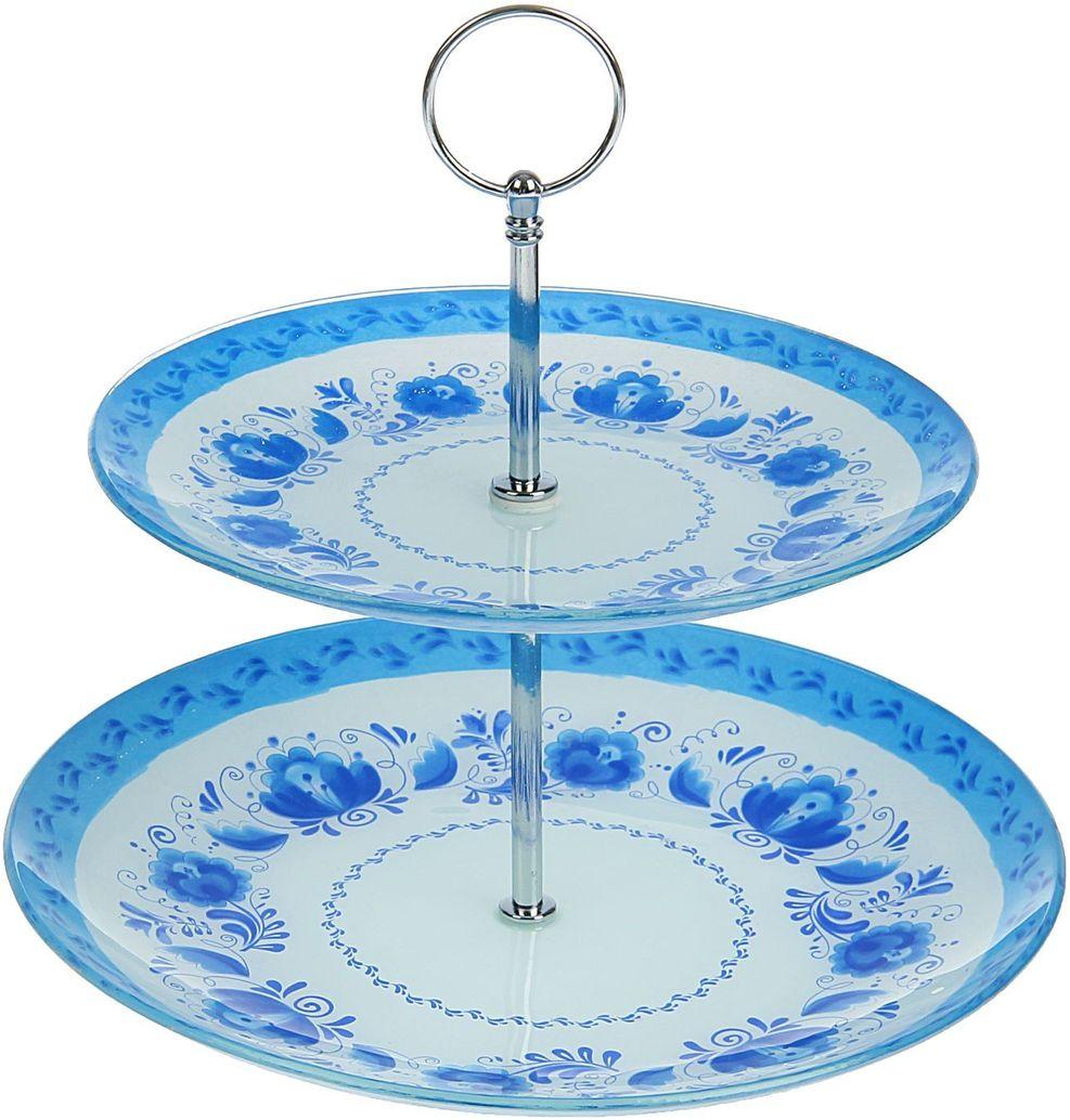 Фруктовница Доляна Гжель, 2-ярусная, 25 х 20 х 15 см1571464Столовая посуда с природными мотивами в оформлении разнообразит интерьер кухни и сделает застолье самобытным и запоминающимся. Достоинства: качественное стекло не впитывает запахов; гладкая поверхность обеспечивает лёгкость мытья; яркий дизайн порадует ценителей стиля фолк. Рекомендуется избегать использования абразивных моющих средств. Делайте любимый дом уютнее!