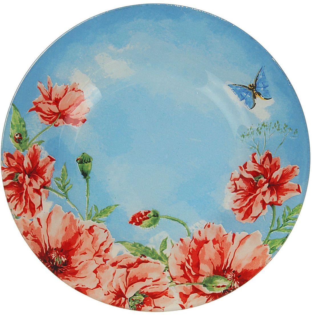 Тарелка десертная Доляна Акварель, диаметр 20 см1571466Столовая посуда с природными мотивами в оформлении разнообразит интерьер кухни и сделает застолье самобытным и запоминающимся. Достоинства: качественное стекло не впитывает запахов; гладкая поверхность обеспечивает лёгкость мытья; яркий дизайн порадует ценителей стиля фолк. Рекомендуется избегать использования абразивных моющих средств. Делайте любимый дом уютнее!