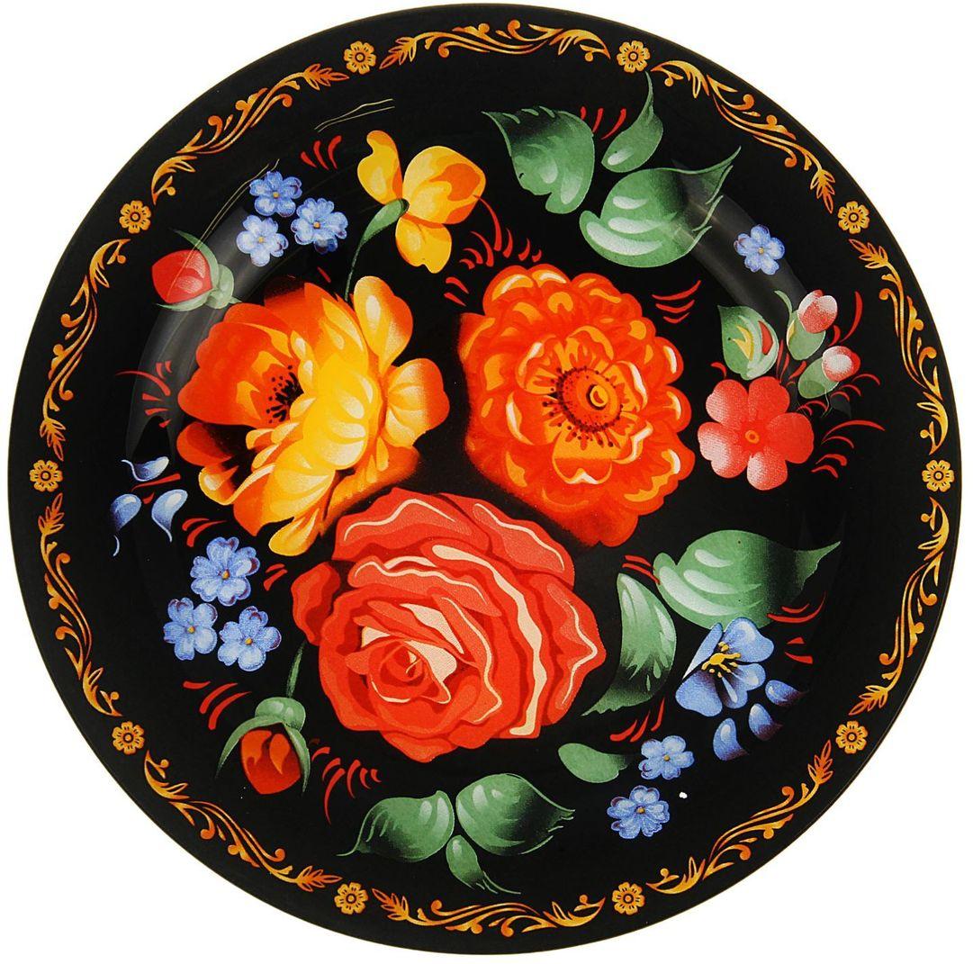 Тарелка Доляна Жостово, диаметр 22 см1571468Столовая посуда с природными мотивами в оформлении разнообразит интерьер кухни и сделает застолье самобытным и запоминающимся. Достоинства: качественное стекло не впитывает запахов; гладкая поверхность обеспечивает лёгкость мытья. Рекомендуется избегать использования абразивных моющих средств. Делайте любимый дом уютнее!