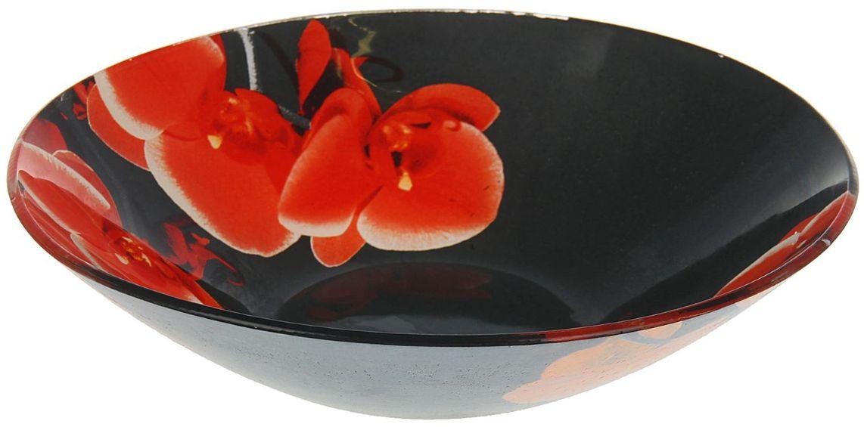 Тарелка глубокая Доляна Орхидеи на черном, диаметр 20 см1571475Столовая посуда с природными мотивами в оформлении разнообразит интерьер кухни и сделает застолье самобытным и запоминающимся. Достоинства: качественное стекло не впитывает запахов; гладкая поверхность обеспечивает лёгкость мытья. Рекомендуется избегать использования абразивных моющих средств. Делайте любимый дом уютнее!