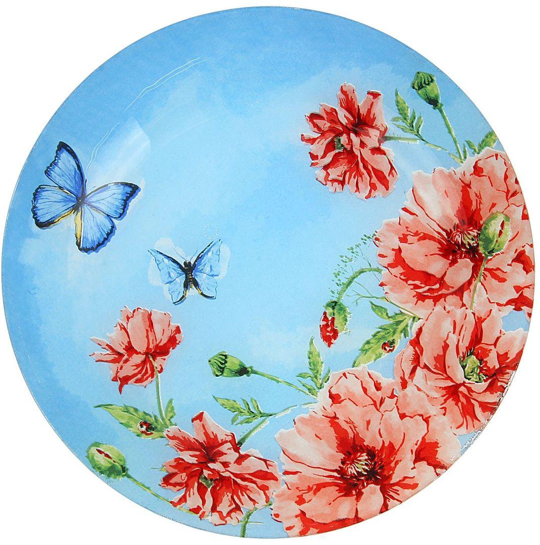 Тарелка Доляна Акварель, диаметр 22 см1571477Столовая посуда с природными мотивами в оформлении разнообразит интерьер кухни и сделает застолье самобытным и запоминающимся. Достоинства: качественное стекло не впитывает запахов; гладкая поверхность обеспечивает лёгкость мытья; яркий дизайн порадует ценителей стиля фолк. Рекомендуется избегать использования абразивных моющих средств. Делайте любимый дом уютнее!