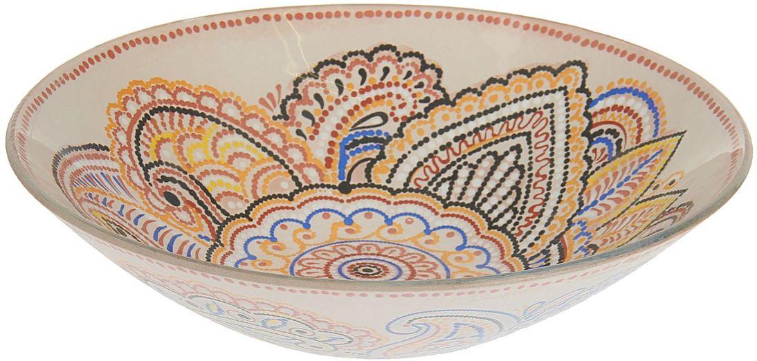 Тарелка глубокая Доляна Восточный узор, диаметр 20 см1571483Столовая посуда с природными мотивами в оформлении разнообразит интерьер кухни и сделает застолье самобытным и запоминающимся. Достоинства: качественное стекло не впитывает запахов; гладкая поверхность обеспечивает лёгкость мытья. Рекомендуется избегать использования абразивных моющих средств. Делайте любимый дом уютнее!