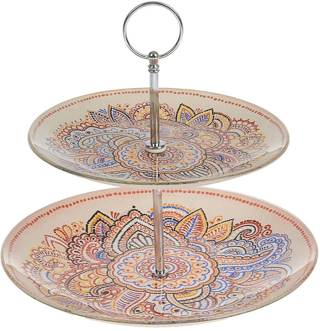 Фруктовница Доляна Восточный узор, 2-ярусная, 25 х 20 х 15 см1571485Столовая посуда с природными мотивами в оформлении разнообразит интерьер кухни и сделает застолье самобытным и запоминающимся. Достоинства: качественное стекло не впитывает запахов; гладкая поверхность обеспечивает лёгкость мытья; яркий дизайн порадует ценителей стиля фолк. Рекомендуется избегать использования абразивных моющих средств. Делайте любимый дом уютнее!