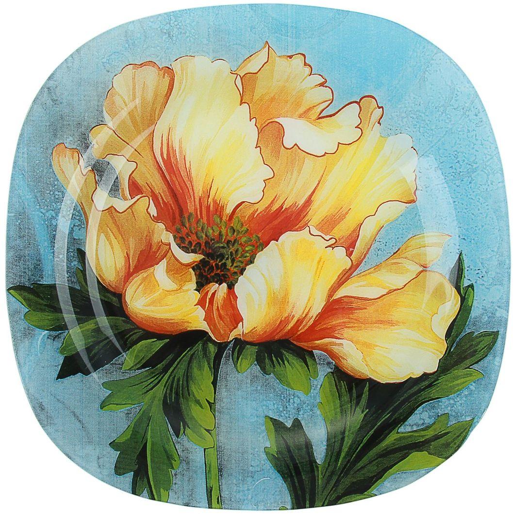 Тарелка Доляна Розовый пион, 25 х 25 см230183Столовая посуда с природными мотивами в оформлении разнообразит интерьер кухни и сделает застолье самобытным и запоминающимся. Достоинства: качественное стекло не впитывает запахов; гладкая поверхность обеспечивает лёгкость мытья. Рекомендуется избегать использования абразивных моющих средств. Делайте любимый дом уютнее!