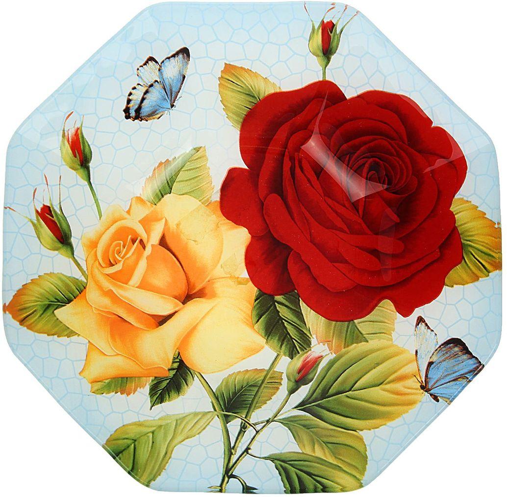 Тарелка глубокая Доляна Розы на голубом, диаметр 22 см230247Столовая посуда с природными мотивами в оформлении разнообразит интерьер кухни и сделает застолье самобытным и запоминающимся. Достоинства: качественное стекло не впитывает запахов; гладкая поверхность обеспечивает лёгкость мытья. Рекомендуется избегать использования абразивных моющих средств. Делайте любимый дом уютнее!
