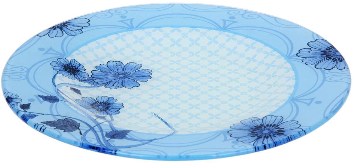 Тарелка Доляна Голубой восторг, диаметр 25 см230479Столовая посуда с природными мотивами в оформлении разнообразит интерьер кухни и сделает застолье самобытным и запоминающимся. Достоинства: качественное стекло не впитывает запахов; гладкая поверхность обеспечивает лёгкость мытья. Рекомендуется избегать использования абразивных моющих средств. Делайте любимый дом уютнее!
