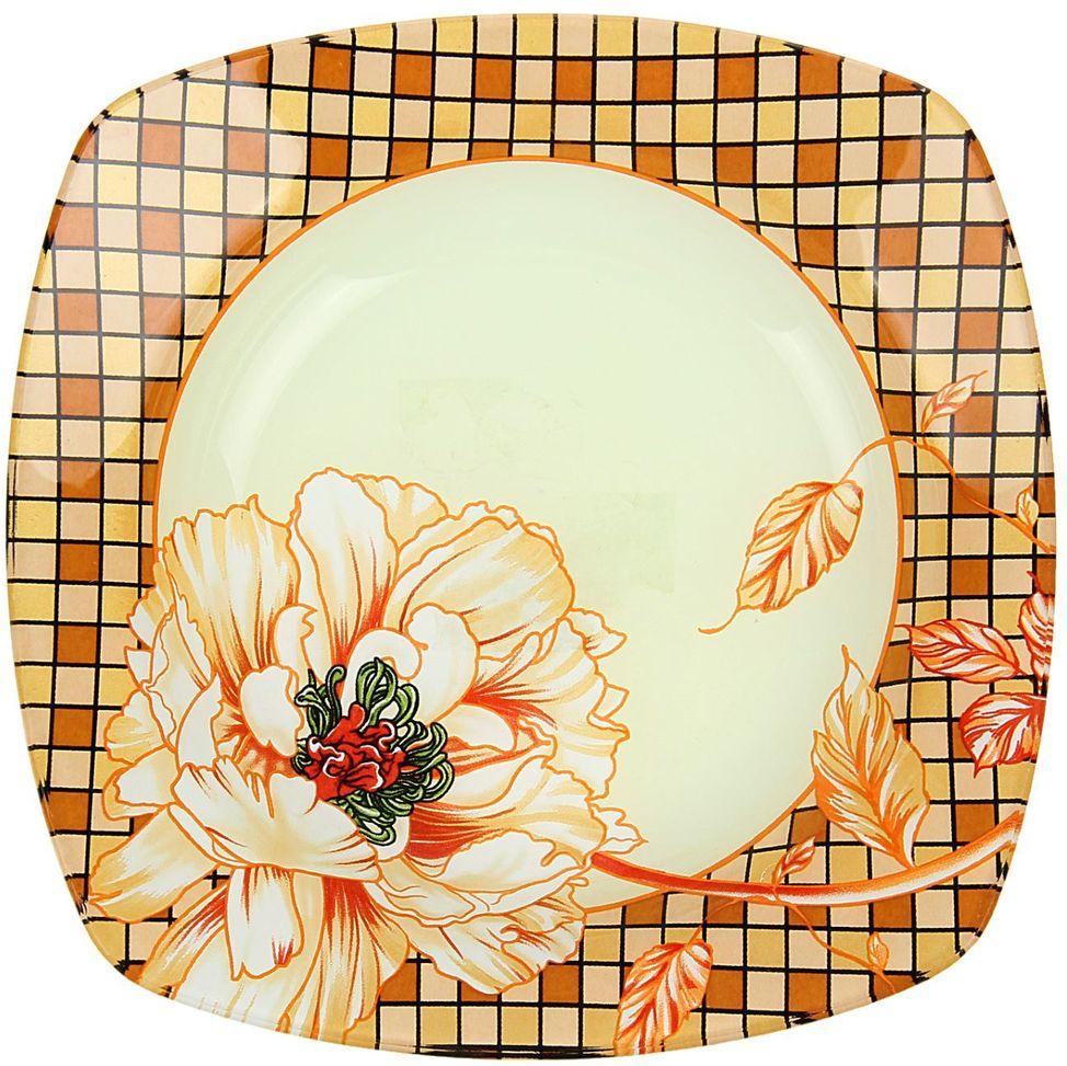 Тарелка глубокая Доляна Клетка, диаметр 20 см230548Столовая посуда с природными мотивами в оформлении разнообразит интерьер кухни и сделает застолье самобытным и запоминающимся. Достоинства: качественное стекло не впитывает запахов; гладкая поверхность обеспечивает лёгкость мытья. Рекомендуется избегать использования абразивных моющих средств. Делайте любимый дом уютнее!