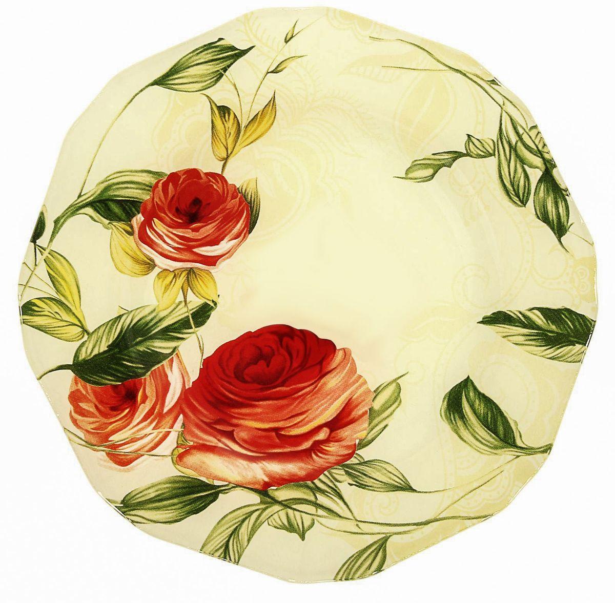Тарелка десертная Доляна Чайная роза, диаметр 20 см230579Столовая посуда с природными мотивами в оформлении разнообразит интерьер кухни и сделает застолье самобытным и запоминающимся. Достоинства: качественное стекло не впитывает запахов; гладкая поверхность обеспечивает лёгкость мытья; яркий дизайн порадует ценителей стиля фолк. Рекомендуется избегать использования абразивных моющих средств. Делайте любимый дом уютнее!